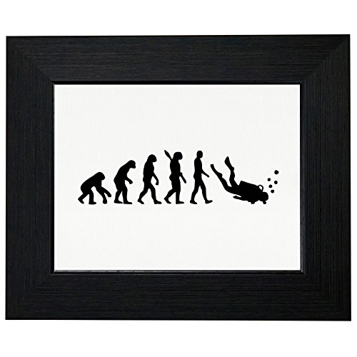 (Evolution of Man Scuba Diver Diving Hilarious Framed Print Poster Wall or Desk Mount Options)