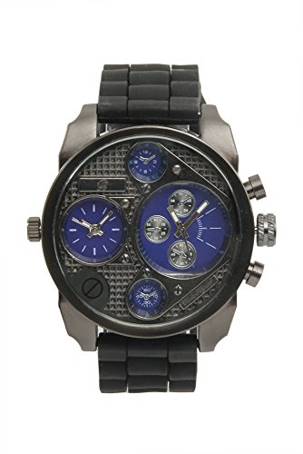 (Sporty Oversize Dual Time Watch with Black Rubber Band - BA405L Midnight Blue )