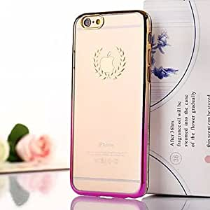 QJM Wheat Gradient Pattern Transparent Plating Phone Case for iPhone 6 Plus