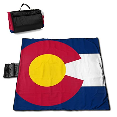 Socira Colorado Flag Large Picnic Blanket Water Resistant Beach Blanket Machine Washable Outdoor Blanket Folds Into A Tote Bag ()