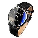 Yazole Mens Blu-ray números romanos cuarzo reloj de muñeca analógico, banda de piel sintética, negro banda esfera de color negro