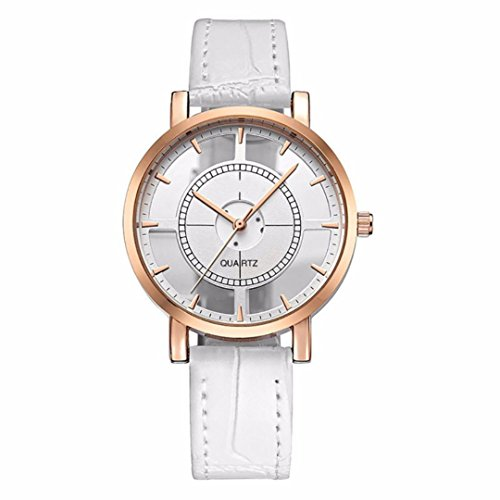 BCDshop Unisex Personality Simple Analog Wrist Delicate Unique Hollow Luxury Business Watch Xmas Gift (White, alloy)