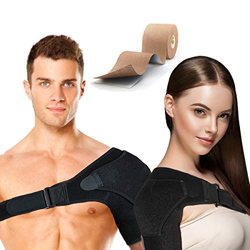 Shoulder Brace Rotator Cuff Support for Men and Women for Injury Prevention, Dislocated AC Joint, Arthritis, Tendonitis with Adjustable Strap, Pressure Pad + Kinesiology Tape