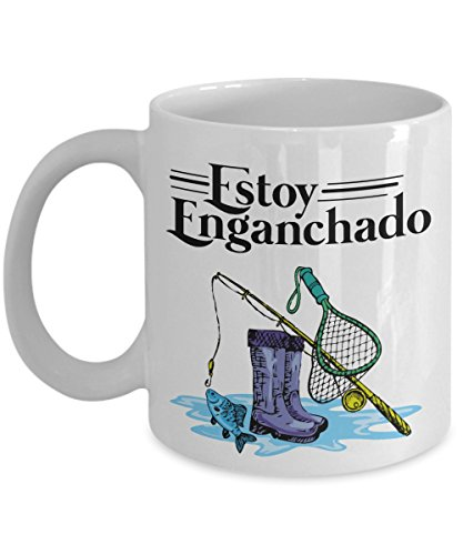 Estoy Enganchado Fishing Coffee & Tea Gift Mug And Mexican Style Gifts For Spanish Speaking Fisherman Grandpa, Dad, Husband, Boyfriend & Groomsmen by Fishing Theme Birthday Gifts, Stuff And Party Supplies For Mexican Men & Women With Hispanic Culture