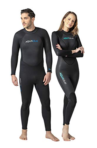 3 Mm Womens Wetsuit - Aqua Blue Men's and Women's 3mm Neoprene Wetsuit with Super Stretch, Perfect for Surfing, Diving, Snorkeling, All Water Sports. (Womens 6)