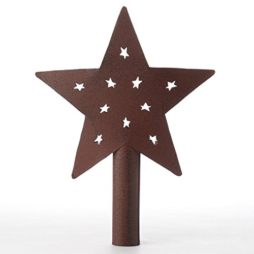 Primitive Style Rustic Red Metal Star Tree Topper or Shelf Sitter with Tiny Prim Star Cutouts - Punched Tin Crafts