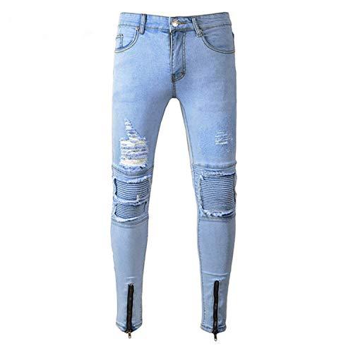 Uomo Da Stretch Fit Classiche Ragazzi Jeans Skinny Effetto Slim Pantaloni Cerniera Used Strappati Blau Con Casual UEwgxq0
