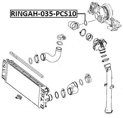 Air Intake Hose Seal Pcs 10 Febest RINGAH-035-PCS10 Oem ...