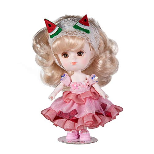 Chubby Girls Fortune Days Original 5 Inch Dolls(with Gift Box),26 Ball Joints Doll,Best BJD Gift for Girls (Watermelon)