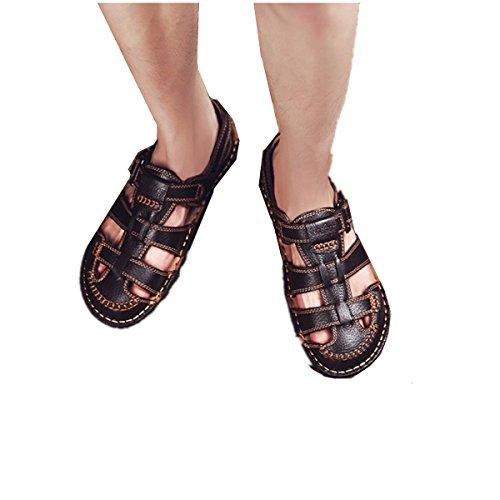 Bininbox Mens Flat Sandales Été Respirant Chaussure Fermé-orteil Soft Sport Pêcheur Marron