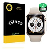 [2Pack] AOSOK for Apple Watch Series 4 Screen Protector (44mm), [Max Coverage] [Anti-Bubble] [Active Protection] Premium HD Clear Tempered Glass for Apple Watch Series 4 (44mm) (2Pack 44mm)