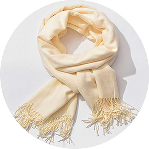 (Women Cashmere Scarves Tassel Winter Thick Warm Scarf Shawl Pashmina Tippet,Milk White)