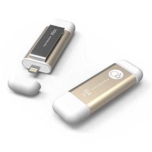 Adam Elements 64GB iKlips Lightning / USB 3.0 Dual-Interface Flash Drive - Gold