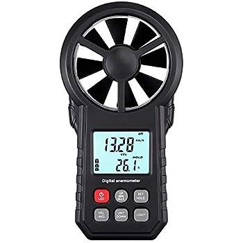 Protmex MS6252B Digital anem/ómetro Humidity Temperature Testers Meters USB Handheld LCD Velocidad del viento Medidor de medici/ón del volumen de aire Backlight