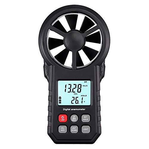 Proster Handheld Anemometer Portable Wind Speed Meter with Flashlight CFM Meter Backlight LCD Wind Temperature Thermometer Air Flow Velocity Wind Gauges for Windsurfing Sailing Fishing Kiteflying