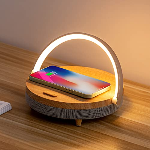 Night Light,ZEANEW 4 in 1 Touch Desk Lamp, Music Bedside Lamp with Wireless Charger, Portable Bluetooth Speaker,Adjustable Phone Holder Dimmable Wireless Charging Night Stand Lamps for Bedroom