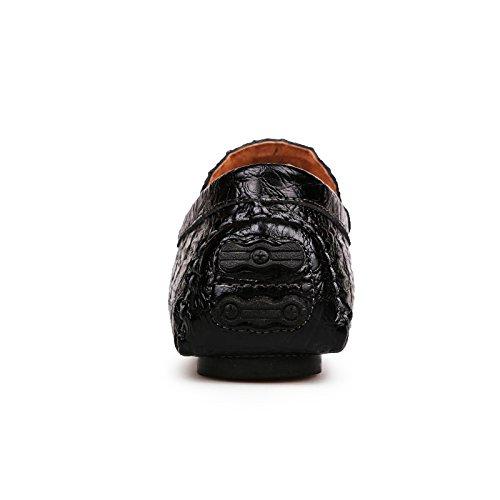 Qianling Samling Mode För Män Loafer Sko Casual Läder Alligator Snedstegons Loafers Svart