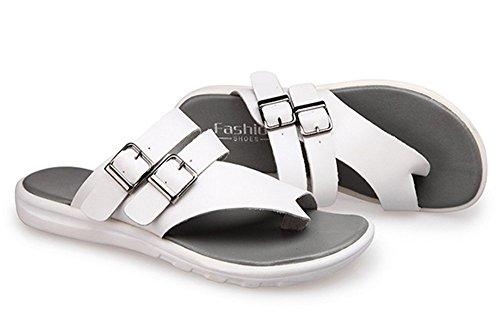 Bininbox Mens Cuir Été Chaussures De Plage Pantoufles Sandales Douces Flip Flops Blanc