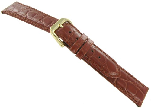 18mm DB Genuine Leather Alligator Grain Tan Watch Band Strap Padded Stitched - 7.5 inches - SHORT
