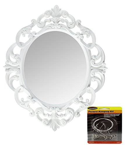 - Andalus Small White Oval Vintage Wall Mirror, Ornate Frame, 11.5