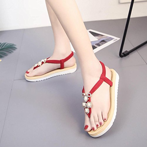 Amlaiworld Ladies Sandals,Sexy Women Flat Shoes Bead Bohemia Leisure Lady Sandals Peep-Toe Outdoor Shoes Red