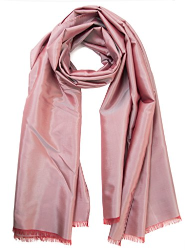Elizabetta Italian Silk Shantung Evening Formal Scarf Shawl Wrap-Rose Pink by Elizabetta