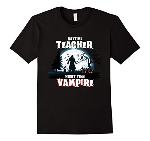Jack Black School Of Rock Costume (Mens Teacher By Day Vampire By Night Halloween Costume Shirt Large Black)