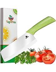 VegItPro Ceramic Knife Eco-Friendly Products Ceramic Cleaver Knife with Wheat Straw Ergonomic Handle - 6 half inch Vegetable Cleaver - Vegetable Knife