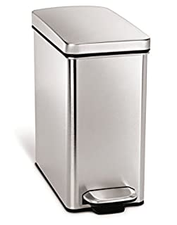 simplehuman 10 Liter / 2.6 Gallon Stainless Steel Bathroom Slim Profile Trash Can, Brushed Stainless Steel (B00E58O57M)   Amazon Products