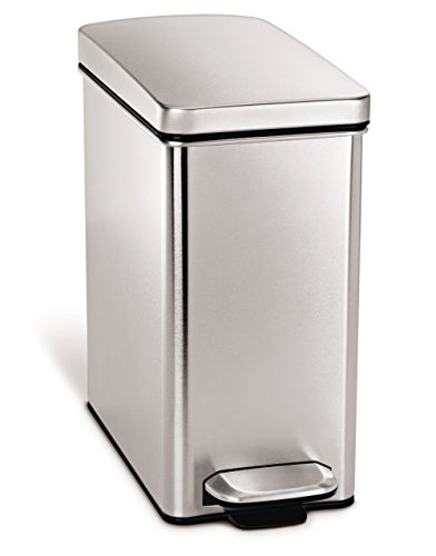 simplehuman 10 Liter / 2.6 Gallon Stainless Steel Bathroom Slim Profile Trash Can, Brushed Stainless Steel