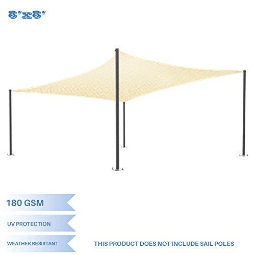 (E&K Sunrise 8' x 8' Beige Sun Shade Sail Square Canopy - Permeable UV Block Fabric Durable Patio Outdoor Set of 1)