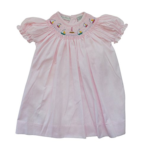 Carriage Boutique Baby Girl Hand Smocked Classic Bishop Dress - Pink Sail Boats, 9M (Smocked Sailboat)