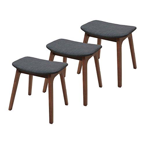 ベンチスツール 3脚 ファブリック pani-3st-339wndgy ウォールナット色 腰掛 イス 木製 北欧 シンプル モダン 玄関椅子 チェア B07DHJQMXM