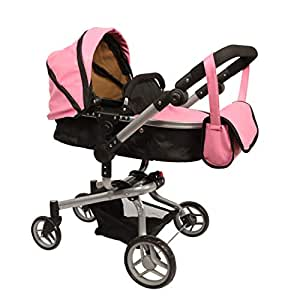 Amazon.com: Mommy & me 2 in 1 Deluxe Leather doll stroller ...