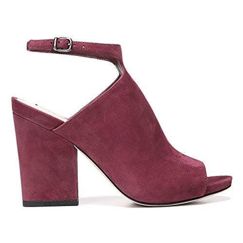 Spiga Heeled Prim Via Women's Burgundy Leather Sandal Kid Suede Block pqxZd