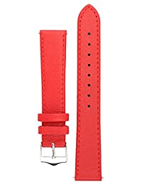 Signature Seasons watch band. Replacement watch strap. Genuine leather. Silver Buckle (24 mm, Red)