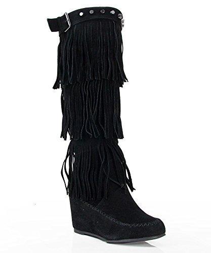 Nature Breeze Bridget-02Hi Moccasin Boots BLACK (6)
