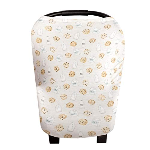 Baby Car Seat Cover Canopy and Nursing Cover Multi-Use Stretchy 5 in 1 Gift Cookies & Milk
