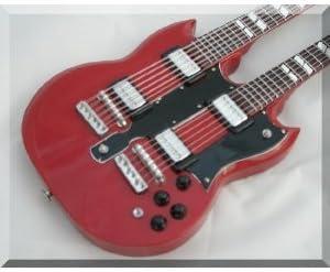 [해외]JIMMY PAGE 지미 페이지 소형 기타 더블 넥 LED ZEPPELIN / JIMMY PAGE Jimmy Page Miniature Guitar Double Neck LED ZEPPELIN