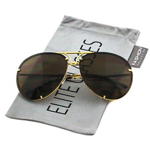 Aviator Poshe Black Brown Lens Twirl Metal Design Frames Sunglasses (Brown - Gold, ()