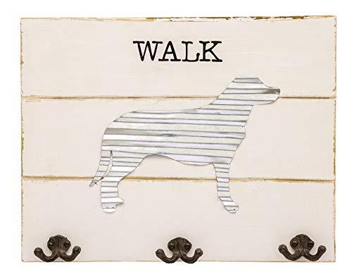 Walk The Dog Distressed Cream 18 x 14 Wood and Metal Key Hook Leash Hanger