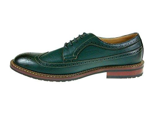 Mens 19312 Scarpe A Punta Traforata Con Allacciatura Oxford Verde