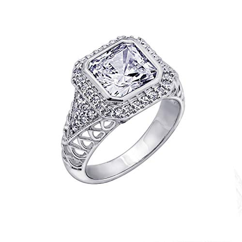 (Diamonbliss Sterling Silver Cubic Zirconia Square Cut Royal Ring -Size 10)