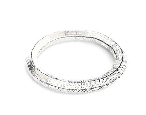 BC289 - Bracelet Elastique Multi-Pièces Métal Argenté - Mode Fantaisie