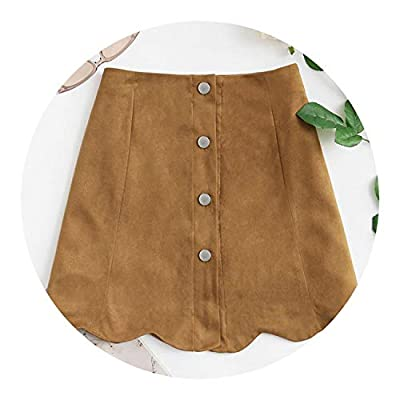 Scallop Hem Single ed Suede Mid Waist Shift Bottom on Short Skirt