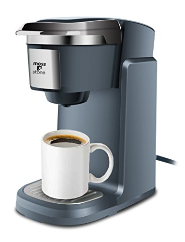 Single Cup Coffee Maker for K-Cup Compatible Pods by Moss and Stone (Dark Grey)