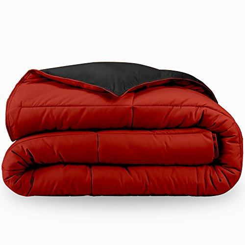 Luxury Duvet Bedding Ensemble - Bare Home Ultra-Soft Premium 1600 Series Goose Down Alternative Reversible Comforter - Hypoallergenic - All Season - Plush Fiberfill (Twin/Twin XL, Black/Red)