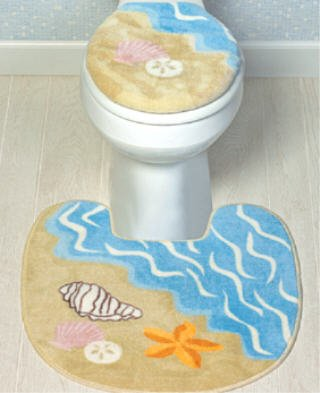 sea shell toilet seat. SEA SHELL Bathroom Toilet Seat Cover decor RUG seashell Amazon com