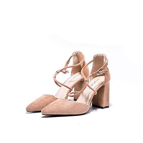 Yukun zapatos de tacón alto Zapatos De Tacón Alto Mujer con Boca Baja Señalados Zapatos Soltera Chica Viento Suave Dama De Honor Salvaje Otoño Khaki