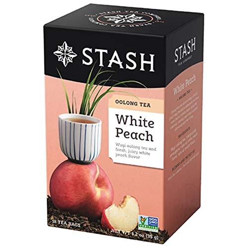 Stash Tea Oolong White Peach Tea 18 Count Tea Bags Individual Oolong Black Tea Bags, Use in Teapots Mugs or Cups, Brew Hot Tea or Iced Tea
